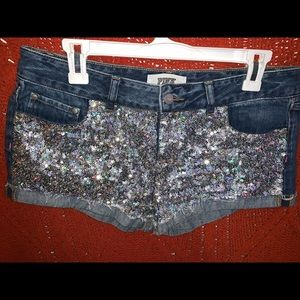 PINK sequined blue jean shorts